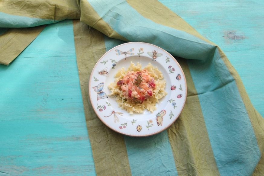 En casa. Pasta con salmon